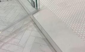Bathroom Remodel Herringbone Tile