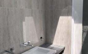 Large Format Tiles on Bathroom Floors and Walls