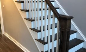 Stair Recap with Railing Stained to Match